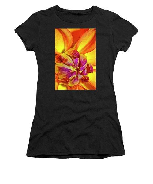Peach Purple Flower Women's T-Shirt