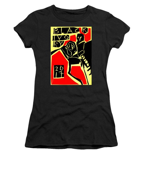 Piano Player Black Ivory Woodcut Poster 31 Women's T-Shirt