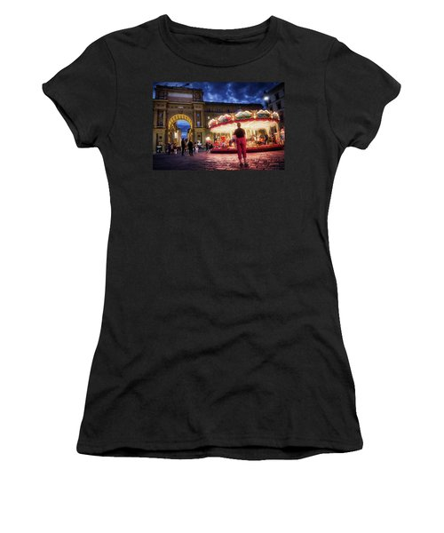 Piazza Della Reppublica At Night In Firenze With Painterly Effects Women's T-Shirt