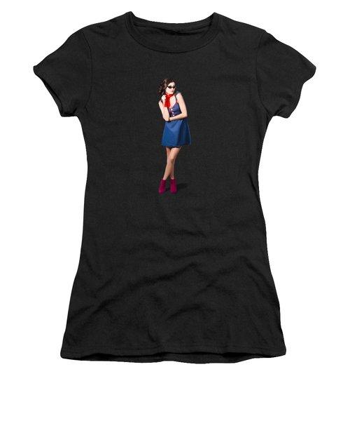 Pin Up Styling Fashion Girl In Retro Denim Dress Women's T-Shirt