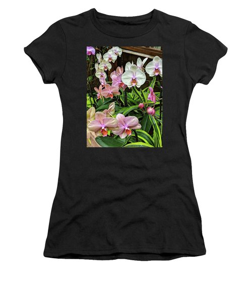 Pink And  White Orchids Women's T-Shirt
