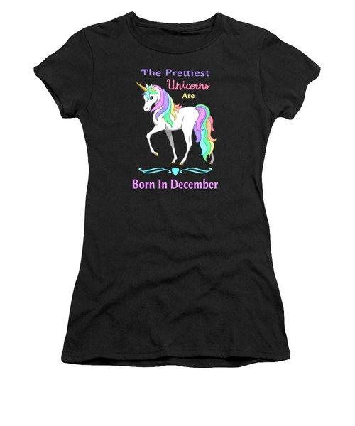 Pretty Rainbow Unicorn Born In December Birthday Women's T-Shirt