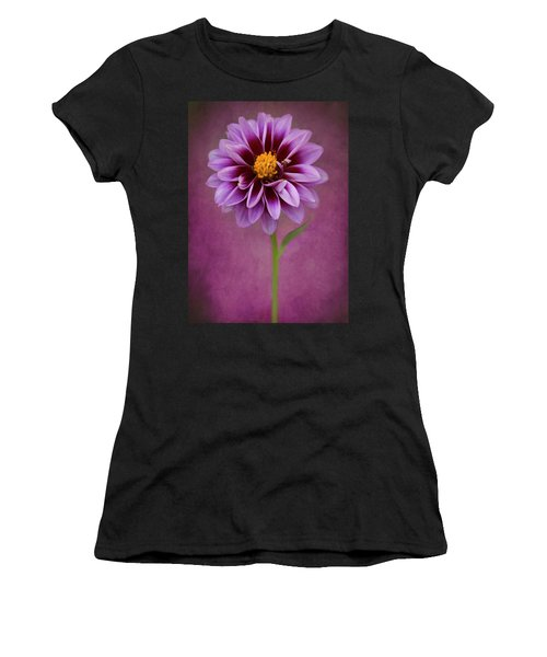 Women's T-Shirt (Athletic Fit) featuring the photograph Purple Dahlia by John Rodrigues