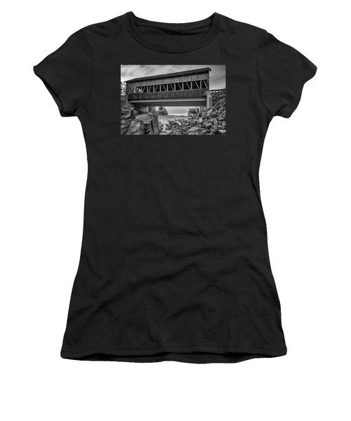 Women's T-Shirt (Athletic Fit) featuring the photograph Quechee Covered Bridge by Rick Berk