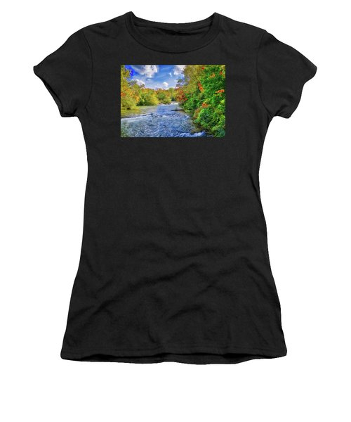 Women's T-Shirt (Athletic Fit) featuring the photograph Raging Beauty At Niagara Falls by Lynn Bauer