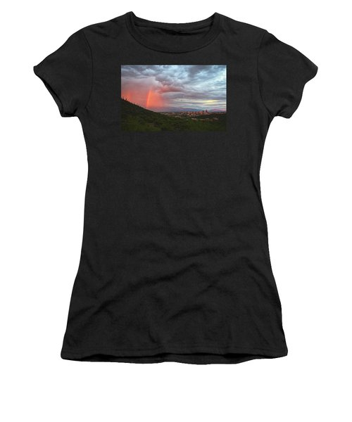 Rainbow Over Tucson Skyline Women's T-Shirt