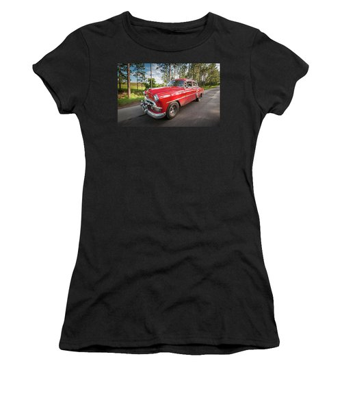 Women's T-Shirt (Athletic Fit) featuring the photograph Red Classic Cuban Car by Mark Duehmig