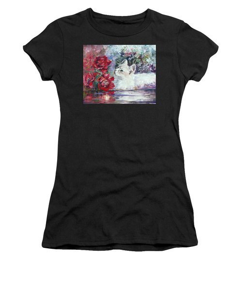Women's T-Shirt featuring the painting Red Roses And White Cat by Ryn Shell