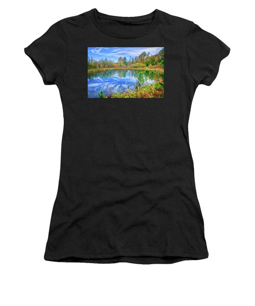 Women's T-Shirt (Athletic Fit) featuring the photograph Reflecting On Fall At The Pond by Lynn Bauer