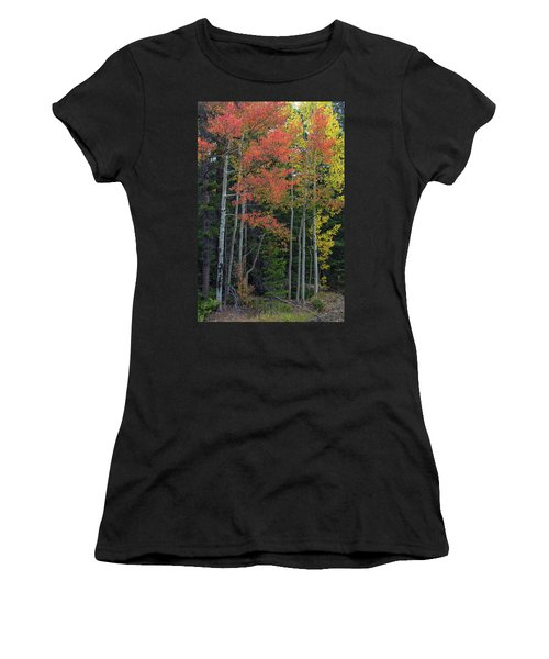 Women's T-Shirt (Athletic Fit) featuring the photograph Rocky Mountain Forest Reds by James BO Insogna