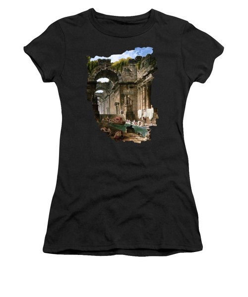 Ruins Of A Roman Bath With Washerwomen By Hubert Robert Women's T-Shirt
