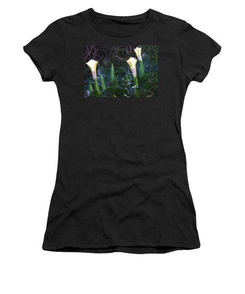 Women's T-Shirt (Athletic Fit) featuring the photograph Sacred Datura Trio - Partial Blooms by Judy Kennedy
