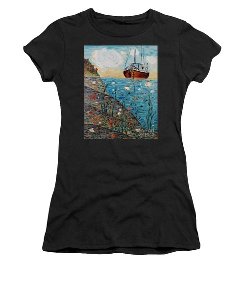 Women's T-Shirt featuring the painting Safe Harbor by Maria Langgle