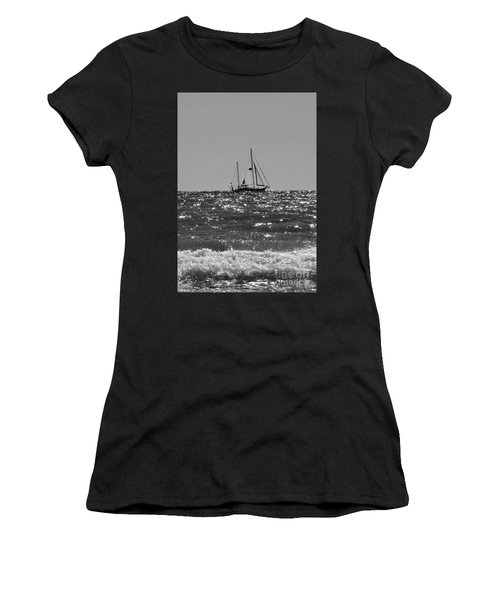 Sailboat In Black And White Women's T-Shirt