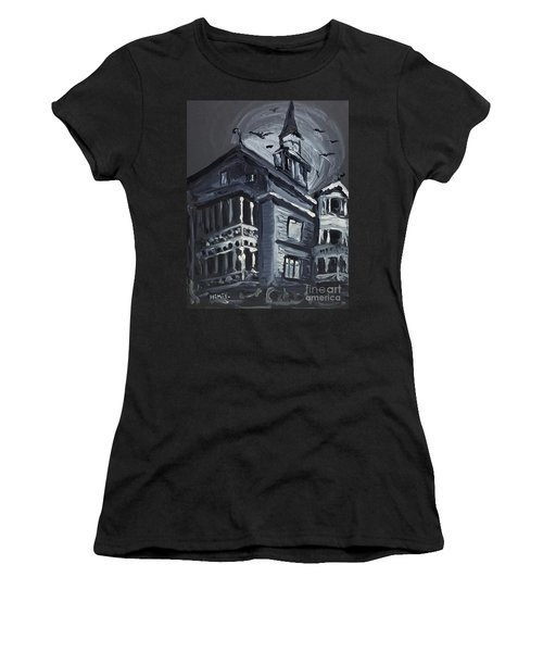 Women's T-Shirt featuring the painting Scary Old House by Maria Langgle