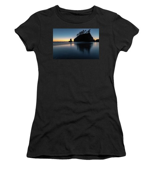 Women's T-Shirt (Athletic Fit) featuring the photograph Sea Stack Silhouette by Ed Clark
