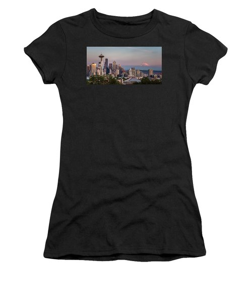Women's T-Shirt (Athletic Fit) featuring the photograph Seattle Skyline And Mt. Rainier Panoramic by Adam Romanowicz