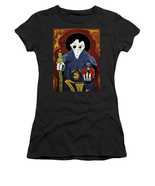 Women's T-Shirt featuring the painting Shadow Priest by Sotuland Art