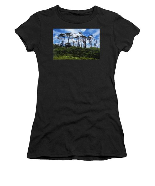 Silhouettes Of Wind Sculpted Krumholz Trees  Women's T-Shirt