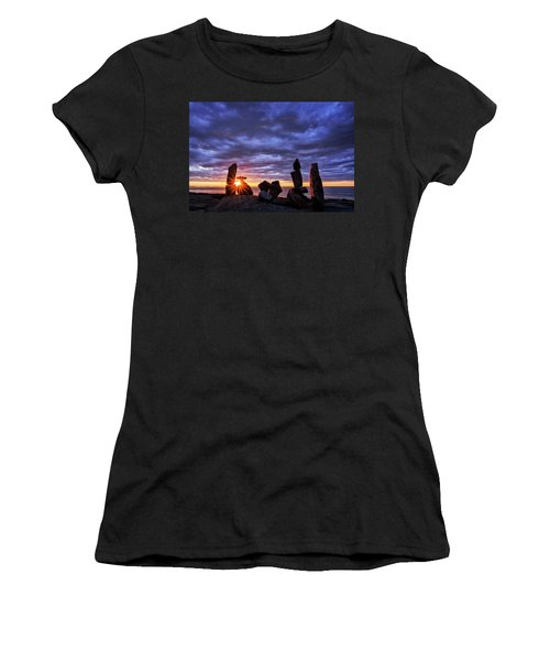 Women's T-Shirt featuring the photograph Standing Stone 1 Halibut Pt.  by Michael Hubley