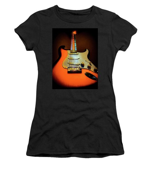 Women's T-Shirt featuring the digital art Stratocaster Triburst Glow Neck Series by Guitar Wacky