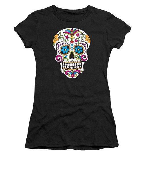 Women's T-Shirt featuring the digital art Sugar Skull Day Of The Dead by Flippin Sweet Gear