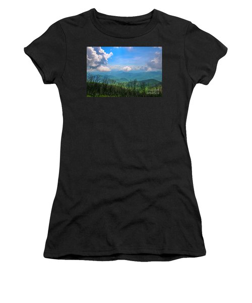 Women's T-Shirt featuring the photograph Summer Mountain View by Tom Claud