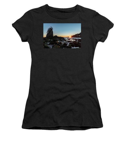 Women's T-Shirt (Athletic Fit) featuring the photograph Sunburst At The Beach by Ed Clark