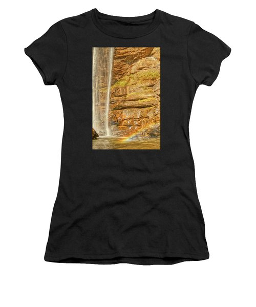 Women's T-Shirt (Athletic Fit) featuring the photograph Tocca Falls Rainbow by Meta Gatschenberger