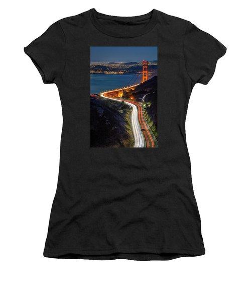 Traffic Racing Over The Golden Gate Bridge Women's T-Shirt