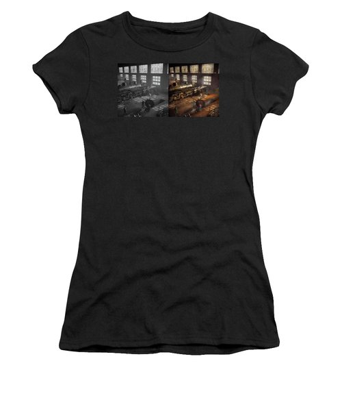 Women's T-Shirt (Athletic Fit) featuring the photograph Train - Repair - Third Door On The Right 1942 - Side By Side by Mike Savad
