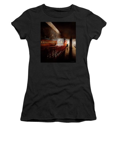Women's T-Shirt (Athletic Fit) featuring the photograph Train - Retro - Last Train Of The Day 1943 by Mike Savad