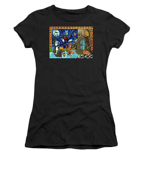 Trick Or Treat Halloween Cats Women's T-Shirt (Athletic Fit)