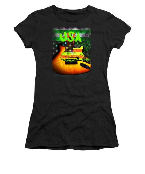 Women's T-Shirt featuring the digital art Usa Strat Guitar Music Green Theme by Guitar Wacky