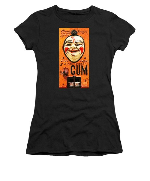 Women's T-Shirt featuring the photograph Vintage Gum Machine Penny Arcade Nostalgia 20181224 V2 by Wingsdomain Art and Photography