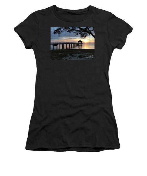 Women's T-Shirt featuring the photograph Walking Bridge To The Gazebo by Rosanne Licciardi