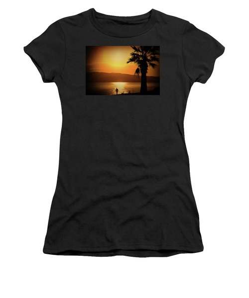 Women's T-Shirt featuring the photograph Walking Down The Beach by Milena Ilieva