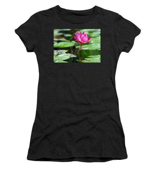 Water Lily And Little Frog Women's T-Shirt