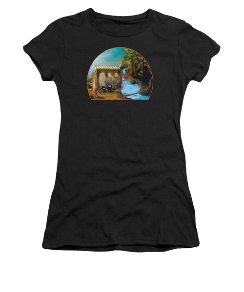 Water Wheel Overlay Women's T-Shirt (Athletic Fit)