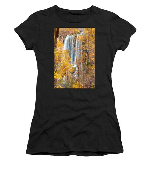 Women's T-Shirt (Athletic Fit) featuring the photograph Waterfall Backdrop by Russell Pugh