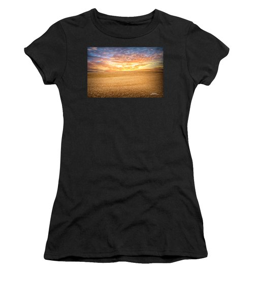 Women's T-Shirt (Athletic Fit) featuring the photograph Wheatfield Sunset by Mike Braun