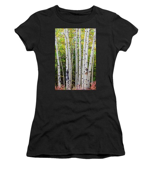 Women's T-Shirt (Athletic Fit) featuring the photograph White Bark Golden Forest by James BO Insogna