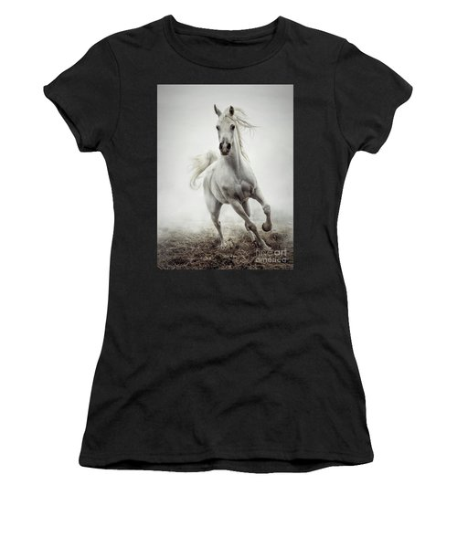Women's T-Shirt (Athletic Fit) featuring the photograph White Horse Running In Winter Mist by Dimitar Hristov