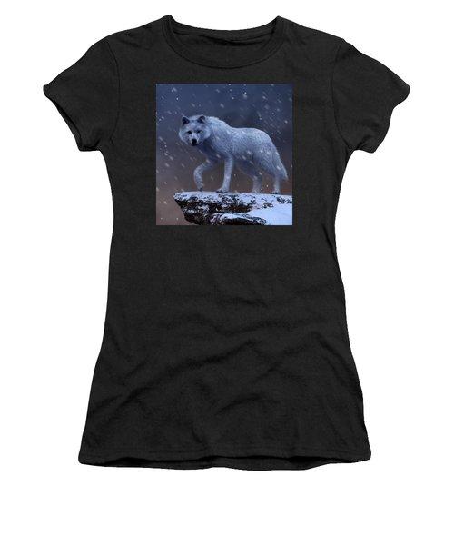 Women's T-Shirt featuring the digital art White Wolf In A Blizzard by Daniel Eskridge