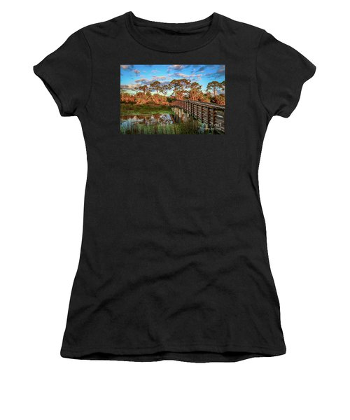 Women's T-Shirt featuring the photograph Winding Waters Boardwalk by Tom Claud