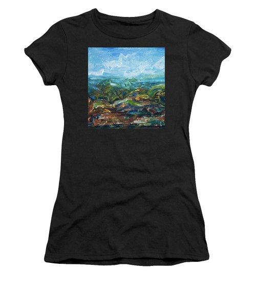 Women's T-Shirt (Athletic Fit) featuring the painting Windy Day In The Grassland. Original Oil Painting Impressionist Landscape. by OLena Art Brand