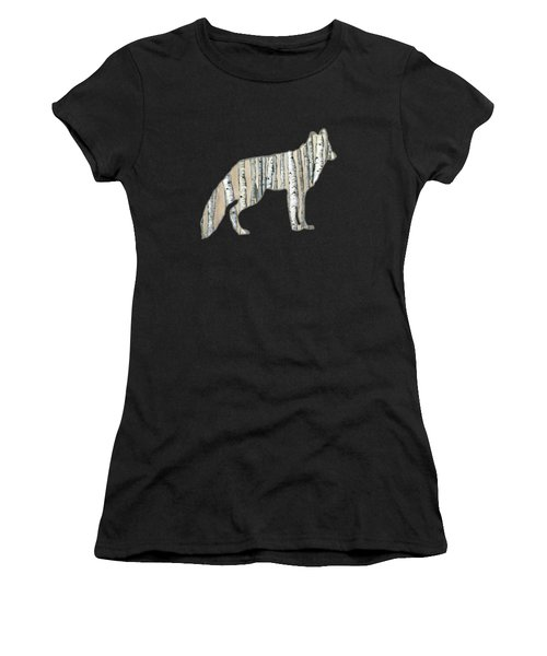 Woods Forest Lodge Wolf With Aspen Trees Women's T-Shirt