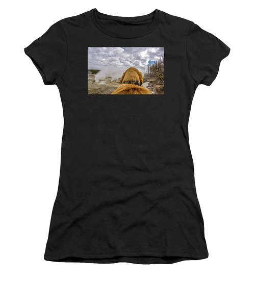 Women's T-Shirt featuring the photograph Yellowstone By Photo Dog Jackson by Matthew Irvin