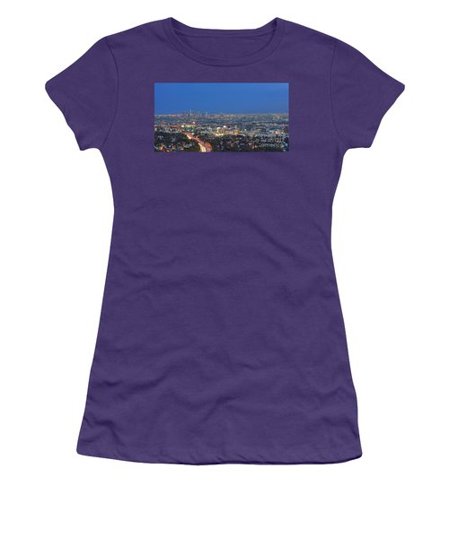 L.a. Skyline Los Angeles Ca Cityscape Night Dusk Lit Lights On 3 Women's T-Shirt (Athletic Fit)