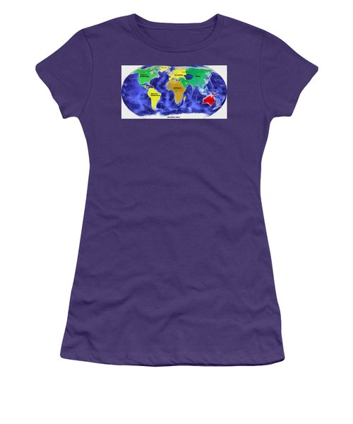 Women's T-Shirt (Junior Cut) featuring the painting Map Of The World by Georgi Dimitrov